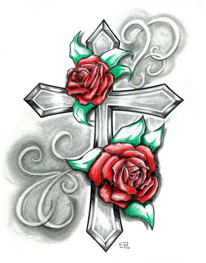 Drawn red rose ribbon drawing With  Tattoo Free library