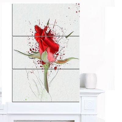 Drawn red rose sketch Canvas Modern Sketch' Hand Designart