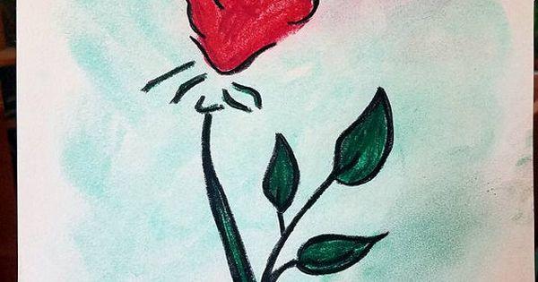 Drawn red rose soft pastel ROSE by Original Sketched Soft