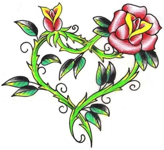 Drawn red rose thorn clipart On Art Vine And