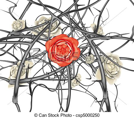 Drawn red rose thorn clipart And of Illustration rose 3d
