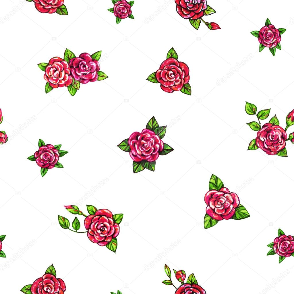 Drawn red rose top view  by background Handwork seamless