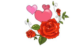 Drawn red rose valentine rose Roses Heart a Draw Rose