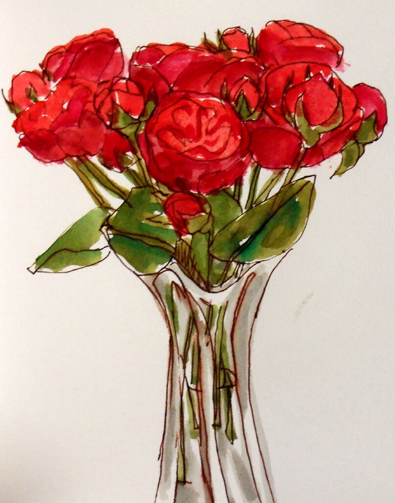 Drawn red rose vase drawing Daily  Sketches
