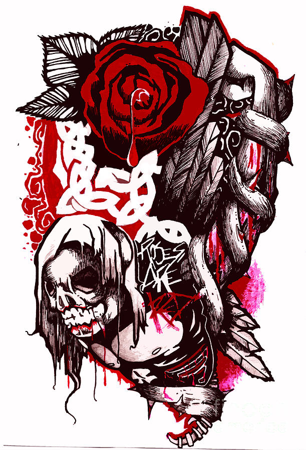 Drawn red rose vine drawing To Red Red Are With