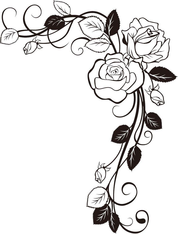 Drawn red rose vine drawing On Материал Best изображения декораций