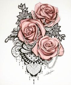 Drawn red rose vine drawing Tattoo rose Google nice pearls