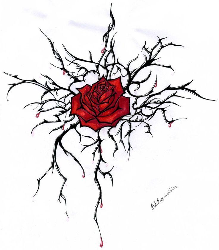Drawn red rose vine drawing Best shoulder Rose Love thorns