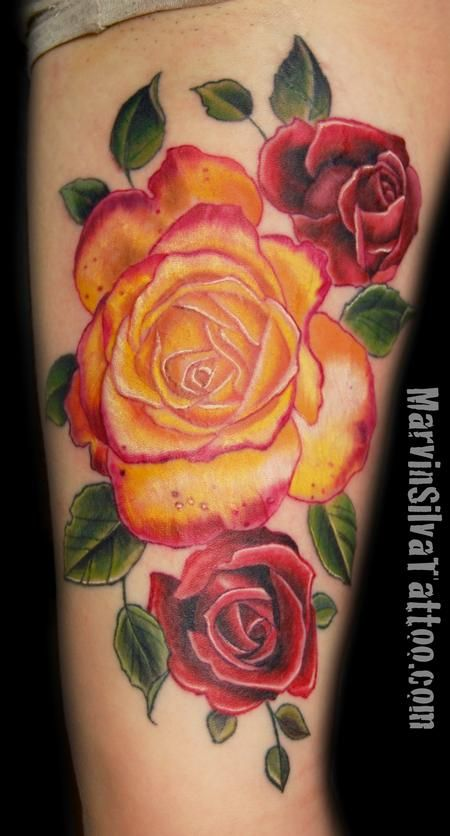 Drawn red rose yellow rose Want Its it tattoos pink