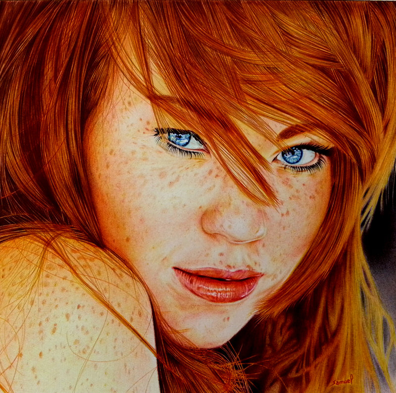 Drawn redhead By Ballpoint on VianaArts Pen
