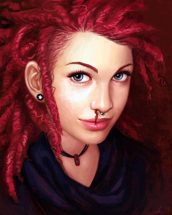 Drawn redhead Girls Girls Ilustrations Redhead Beautiful