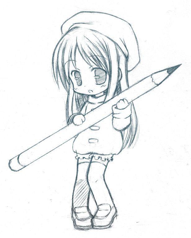 Drawn redhead chibi Anime on girl ✮ pencil