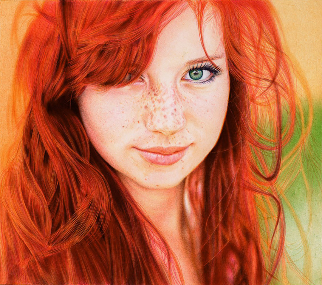 Drawn redhead red dress Art Pen Samuel Ballpoint pen