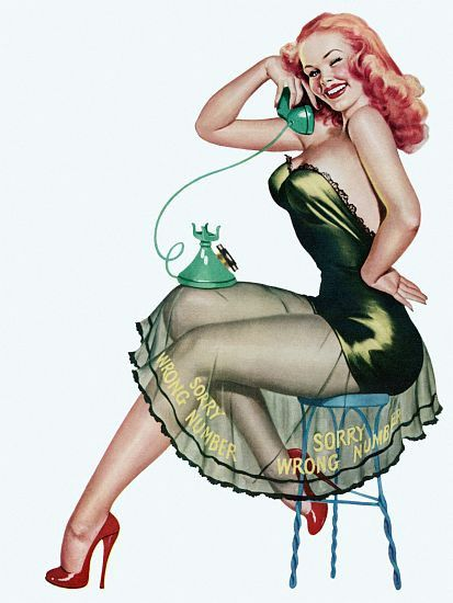 Drawn redhead vintage Pin With on Pin up