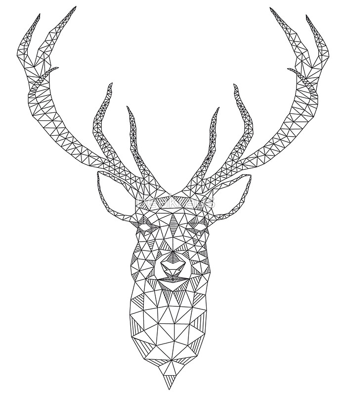 Drawn stag abstract Tattoo  deer card pattern
