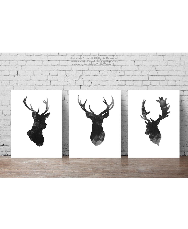 Drawn reindeer abstract Set Head Deer  Gray