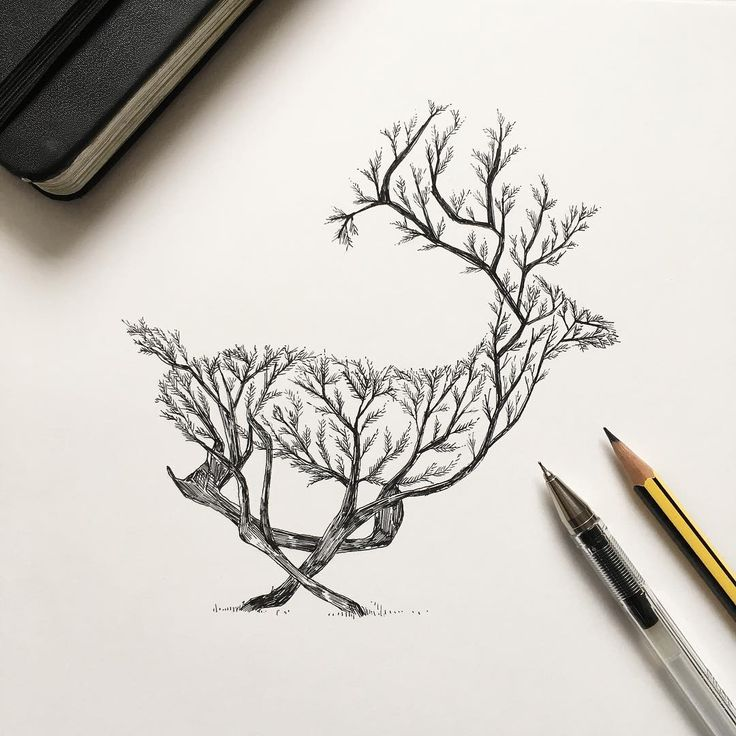 Drawn reindeer awesome Deer on Best #drawing tree