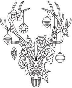 Drawn reindeer awesome Ornaments Threads: Anima Designs Embroidery