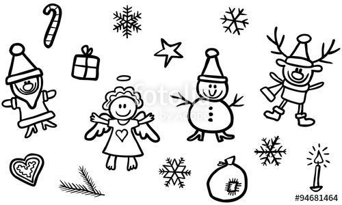 Drawn santa black and white Snowman / Angel Reindeer Elf
