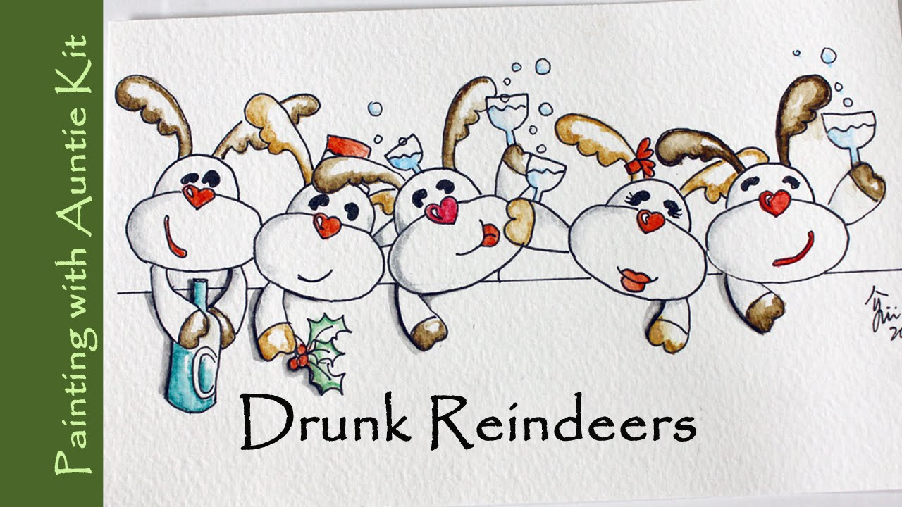 Drawn reindeer card easy Drunk Easy Christmas Card and