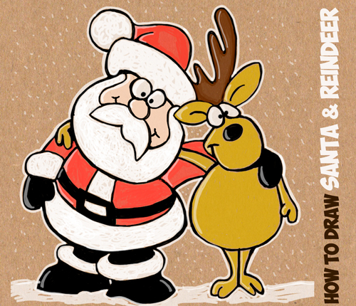 Drawn santa easy Drawing Claus Christmas to Reindeer