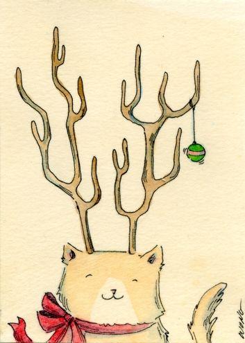Drawn reindeer cat Best cat images Reindeer on