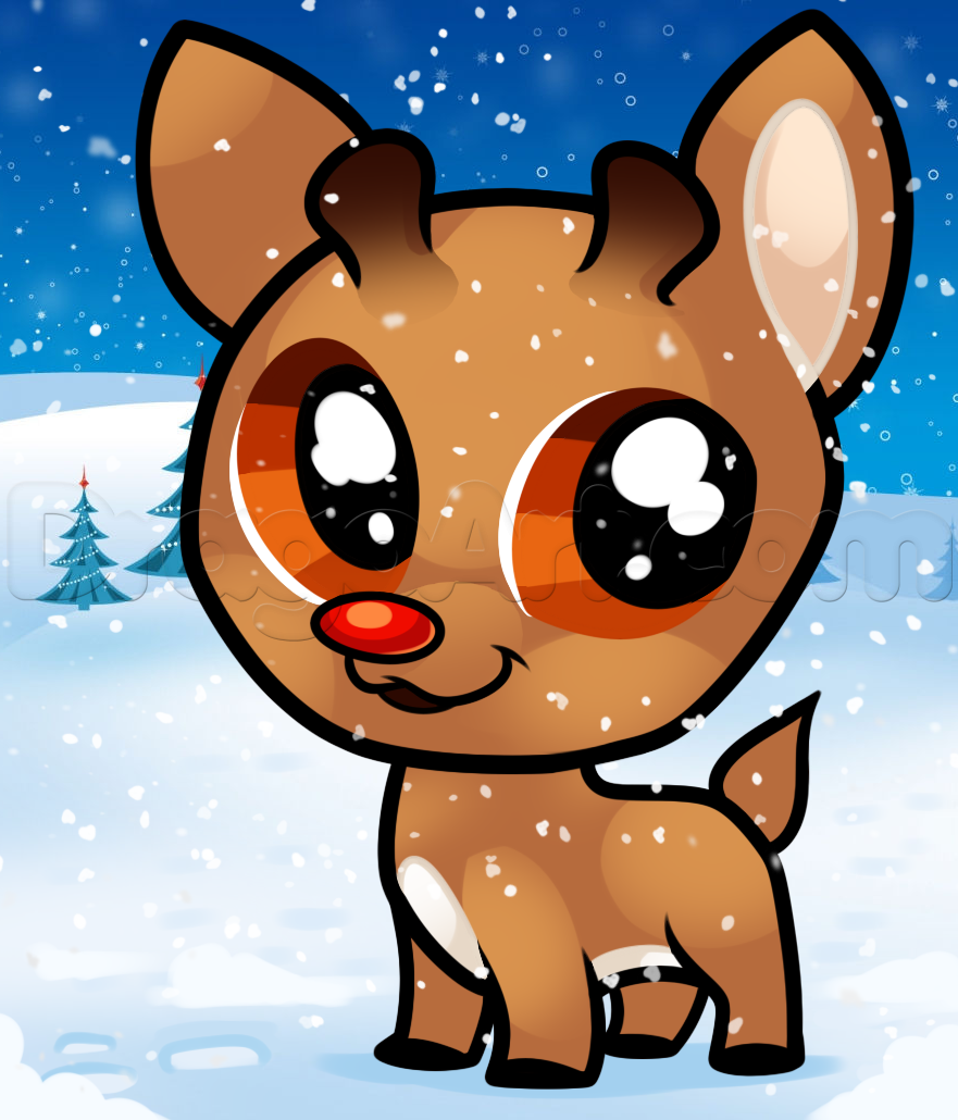 Drawn reindeer chibi To to rudolph How Step