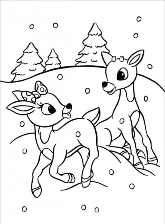 Drawn reindeer christmas coloring page Pages Reindeer pages ideas Christmas