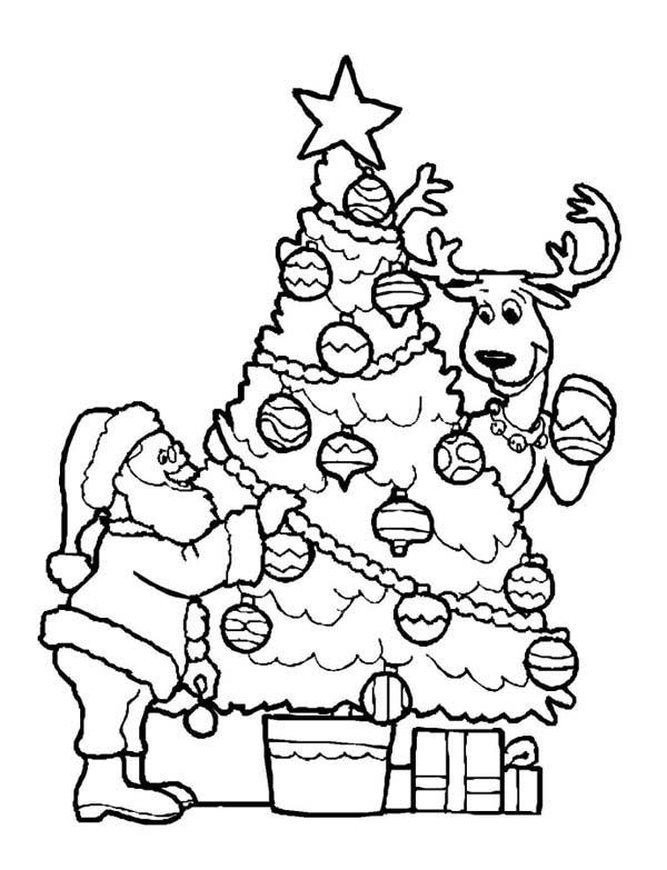 Drawn reindeer christmas tree Tree Christmas Santa Decorating Christmas