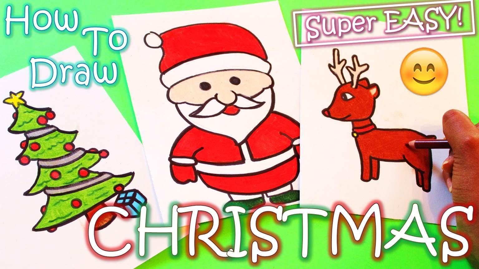 Drawn reindeer christmas tree (Reindeer Tree) How Draw Christmas