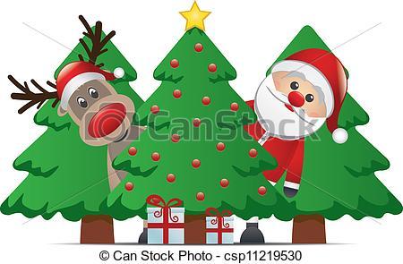 Drawn reindeer christmas tree  reindeer Vector santa claus