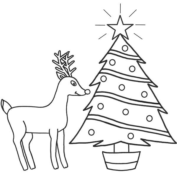 Drawn reindeer christmas tree Red Coloring Coloring Print The