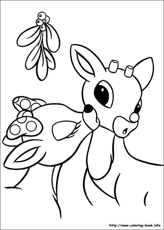 Drawn reindeer color Rudolph reindeer  pages Sheet