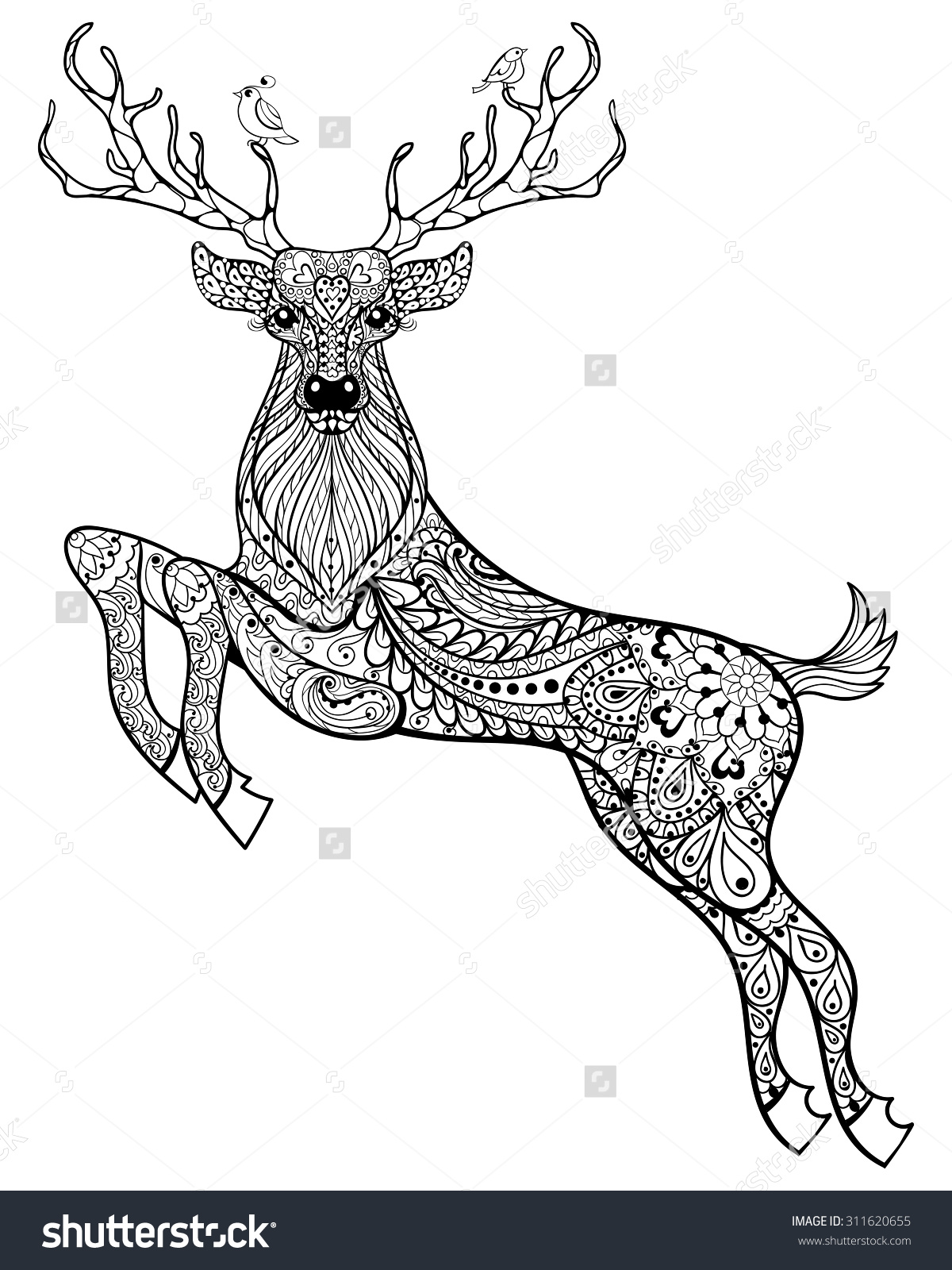 Drawn reindeer color Coloring Page Draw Draw With