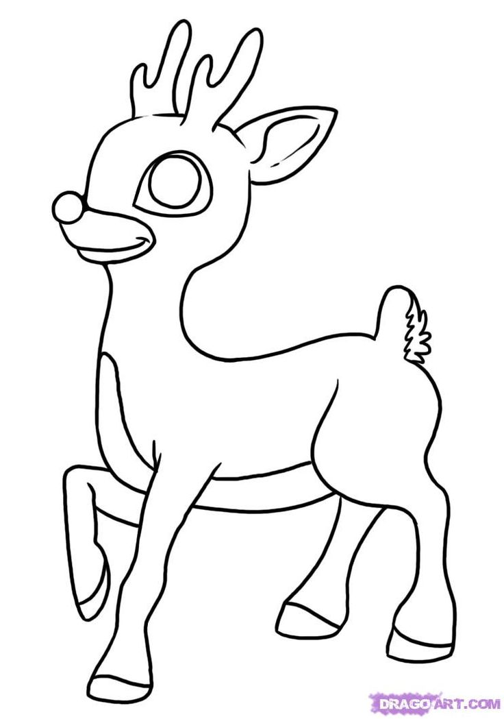 Drawn reindeer color Rudolph reindeer  coloring Sheet