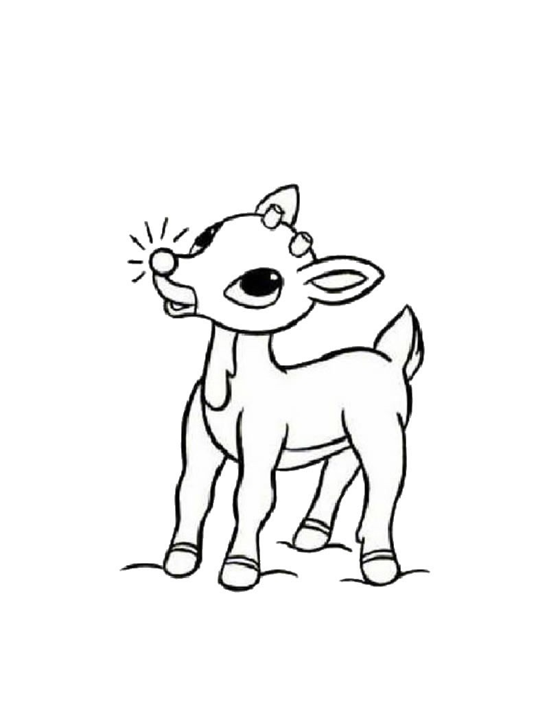 Drawn reindeer coloring book Reindeer the nosed coloring pages