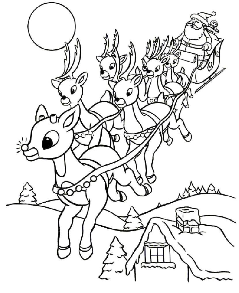 Drawn reindeer coloring book Coloring  Printable Santa Reindeer