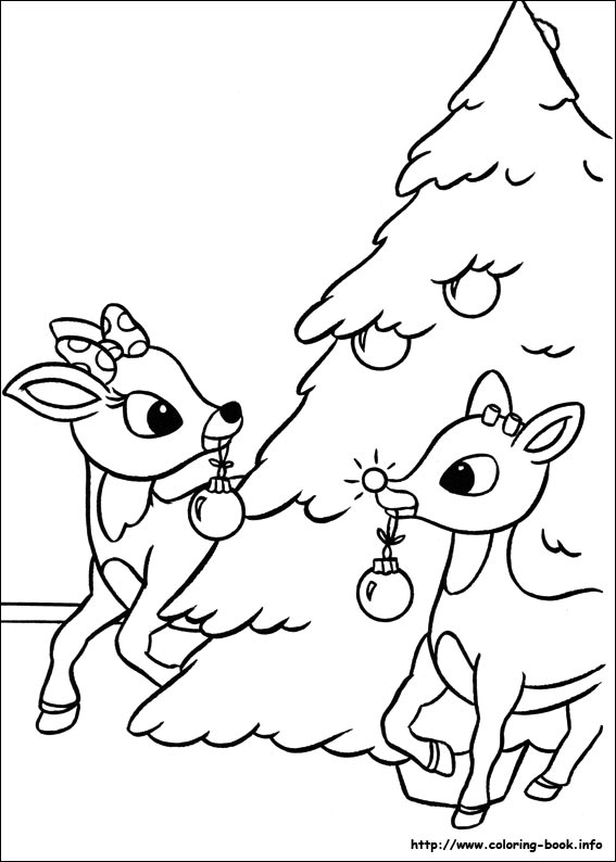 Drawn reindeer coloring book Rudolph Coloring Nosed coloring coloring