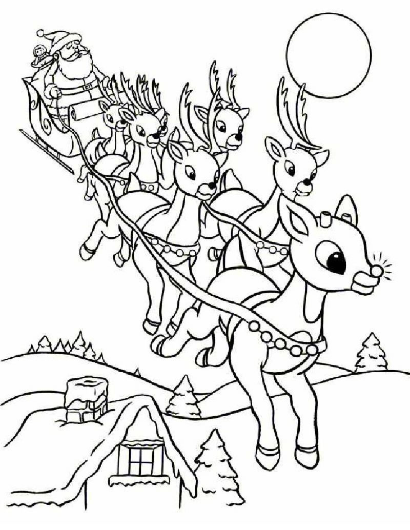 Drawn reindeer colouring page Santa com coloring Sleigh Rudolph