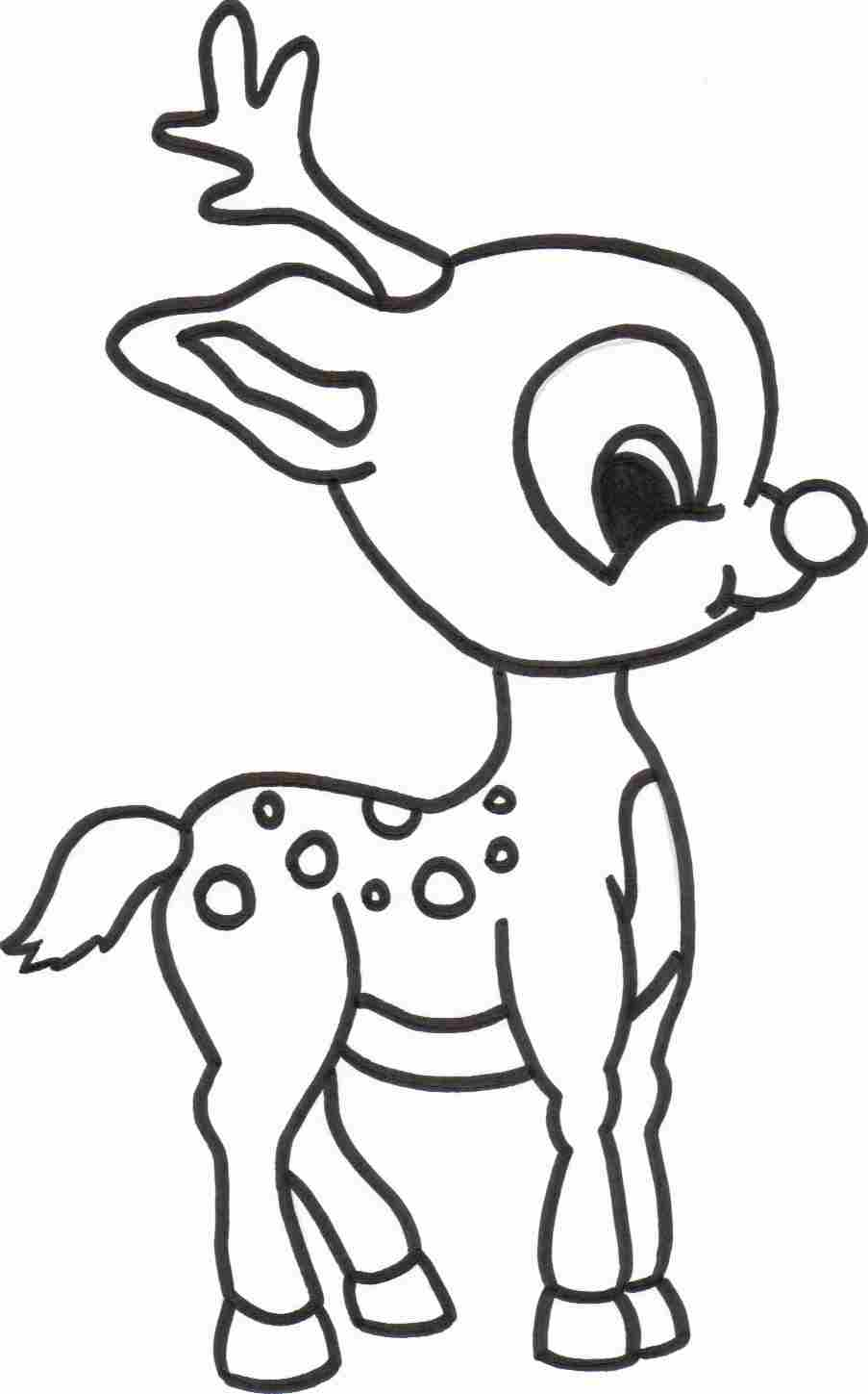 Drawn reindeer colouring page Pages Free Page Reindeer For