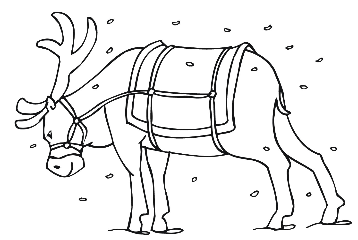 Drawn reindeer colouring page Pages Page Free With Reindeer