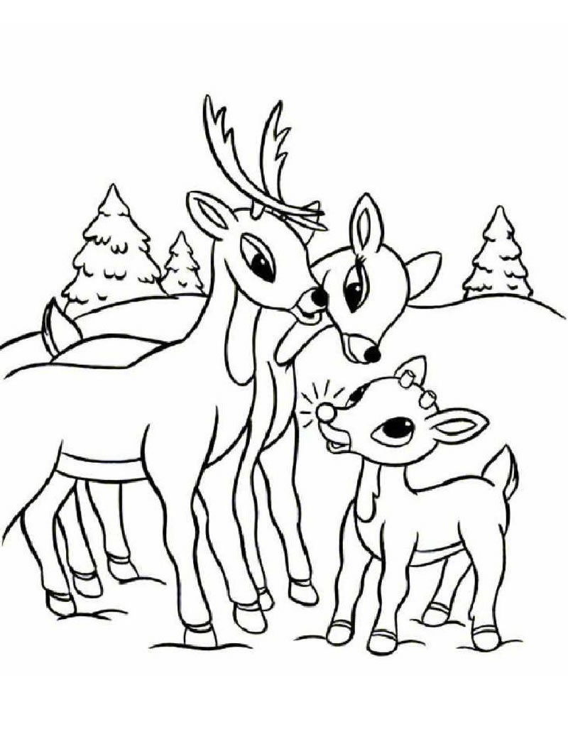 Drawn reindeer colouring page For Printable Free Coloring Kids