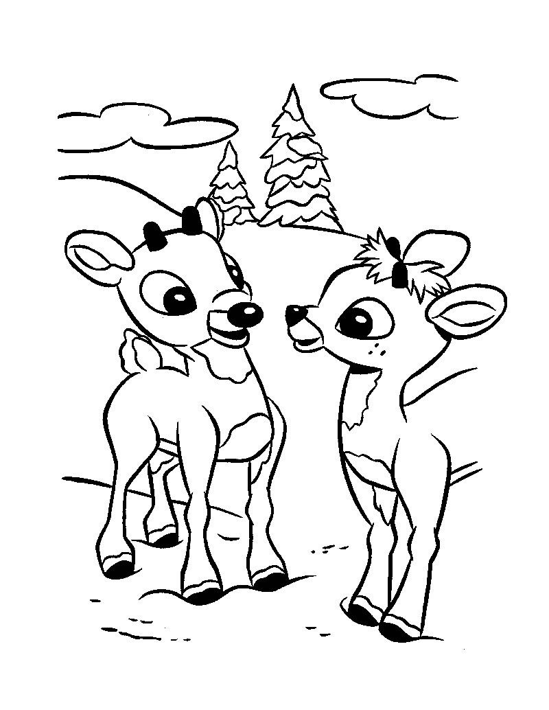 Drawn reindeer colouring page Page  Drawing Christmas Sleigh