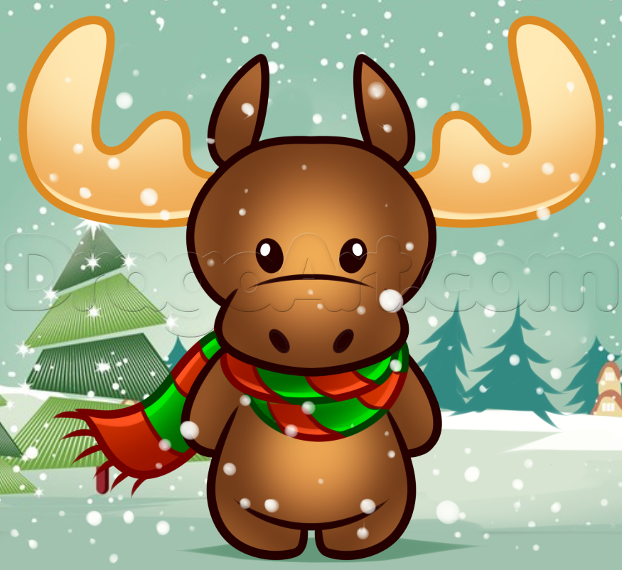 Drawn reindeer cute holiday Christmas to draw how draw