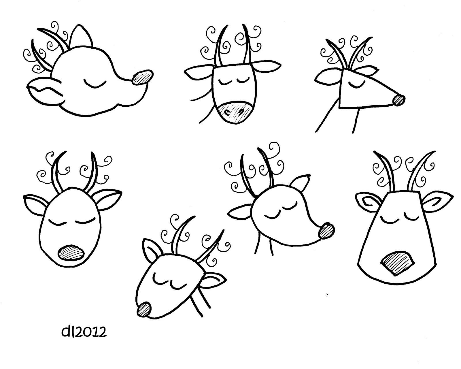 Drawn reindeer doodle Leigh: Doodle Deborah Cute 2012