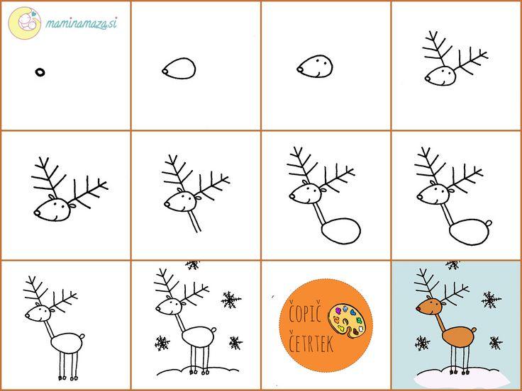 Drawn reindeer easy draw On Drawing narisati Pinterest Naučimo