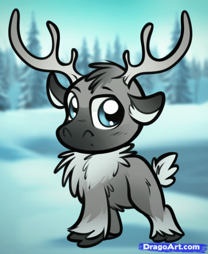 Drawn reindeer frozen drawing From Frozen Chibi  from