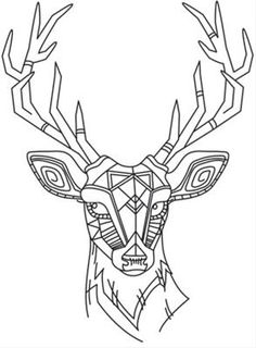 Drawn buck geometric On Light deer makes geometric