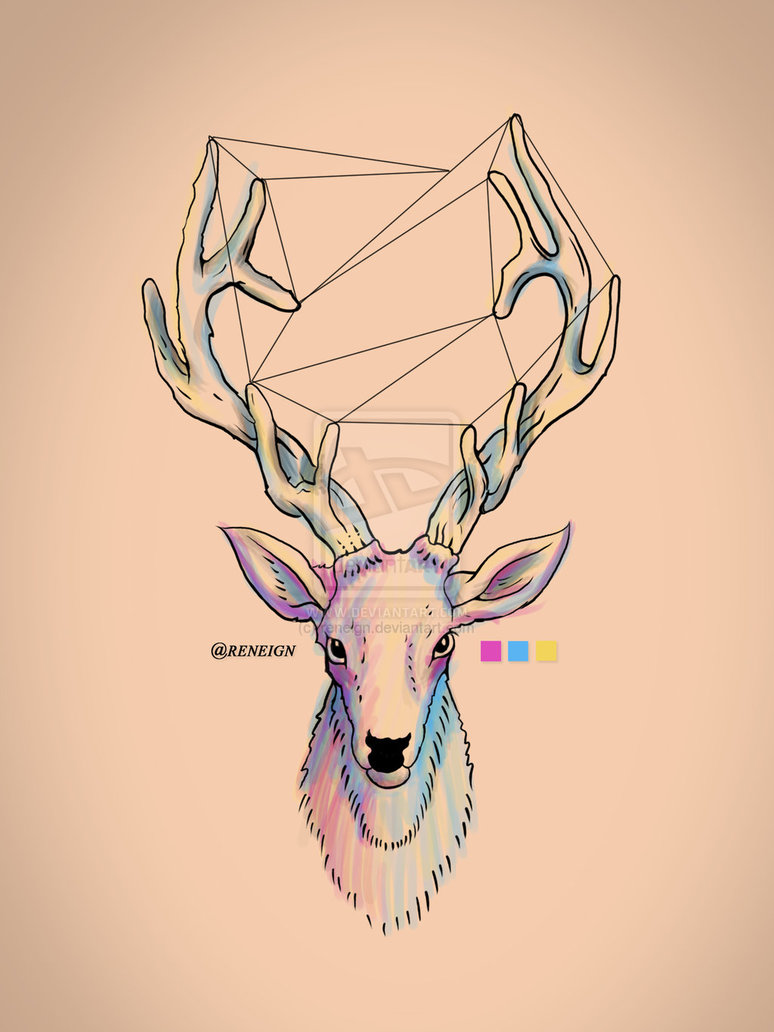 Drawn reindeer hipster Hipsters by reneign Deer and