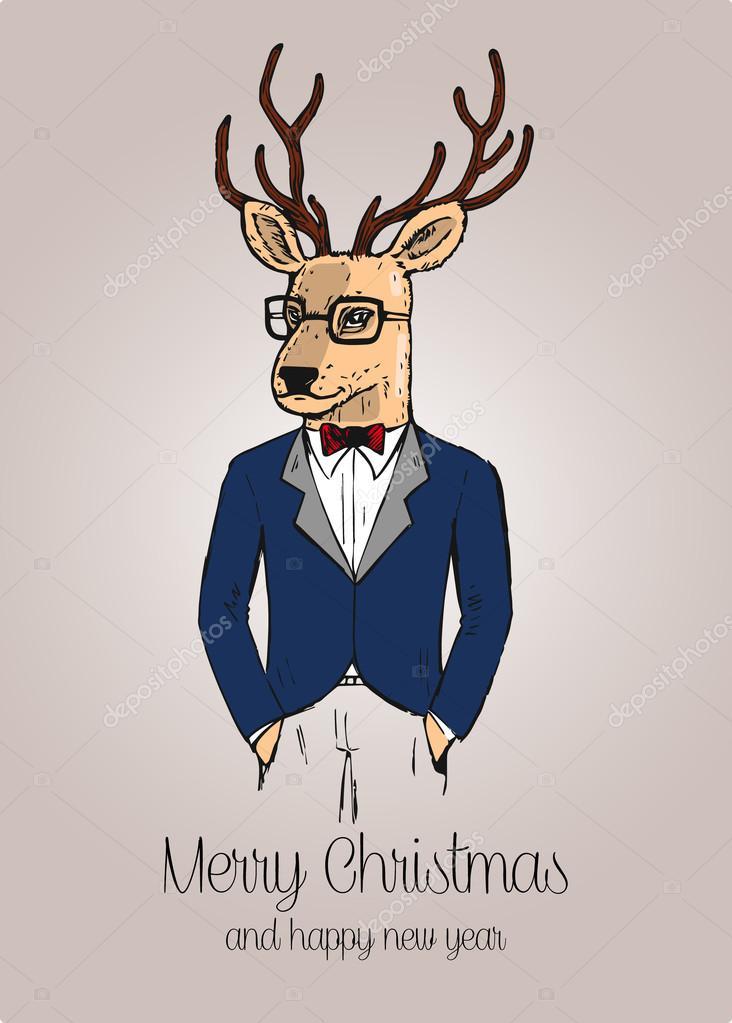 Drawn reindeer hipster Cartoon hand Vector  reindeer